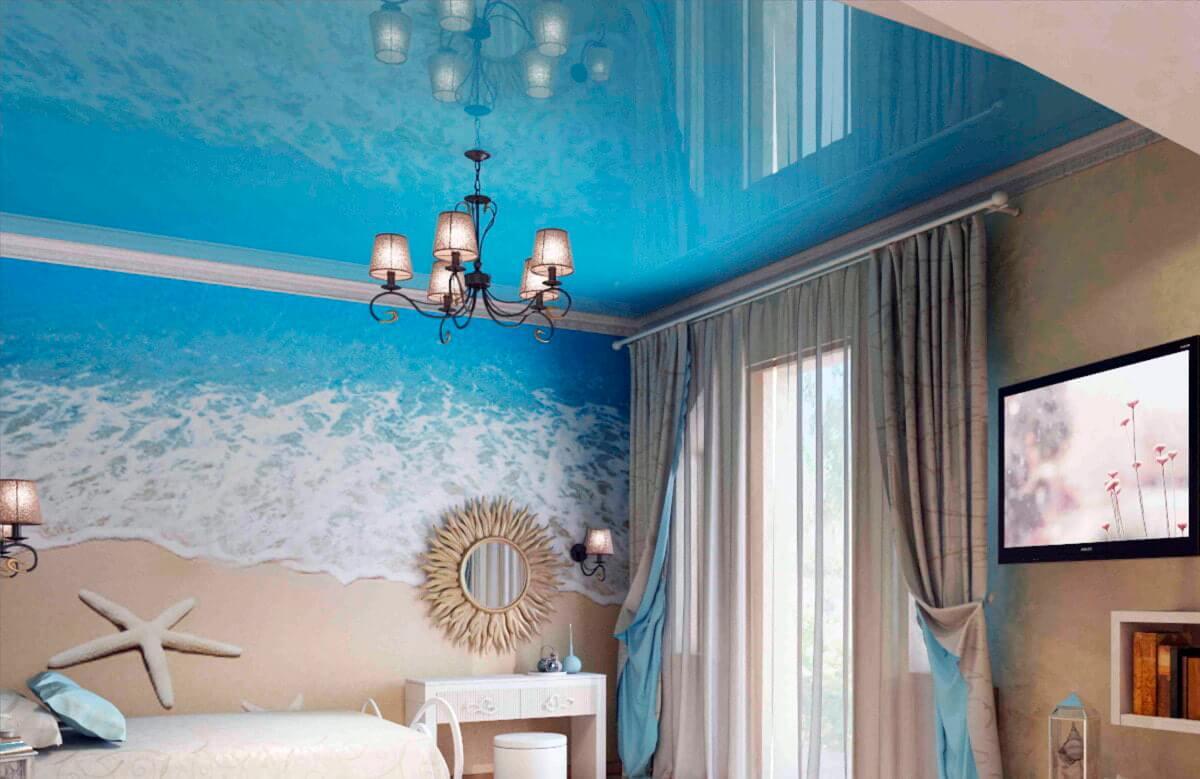 Фотообои в комнате с низким потолком