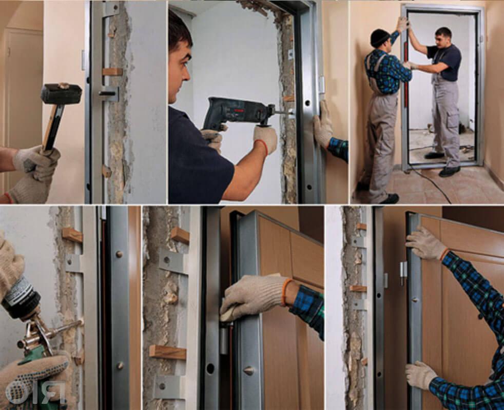 монтаж и установка входных металлических дверей