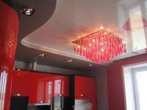 отделка потолка - натяжные потолки - фото