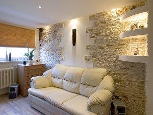 отделка камнем в квартире - фото