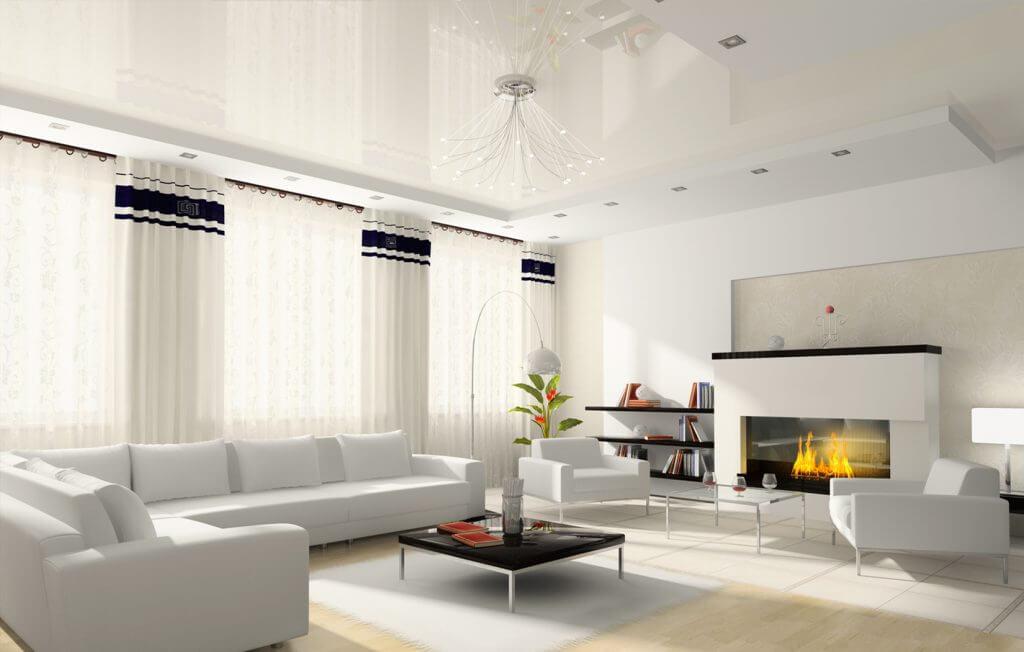 белые натяжные потолки