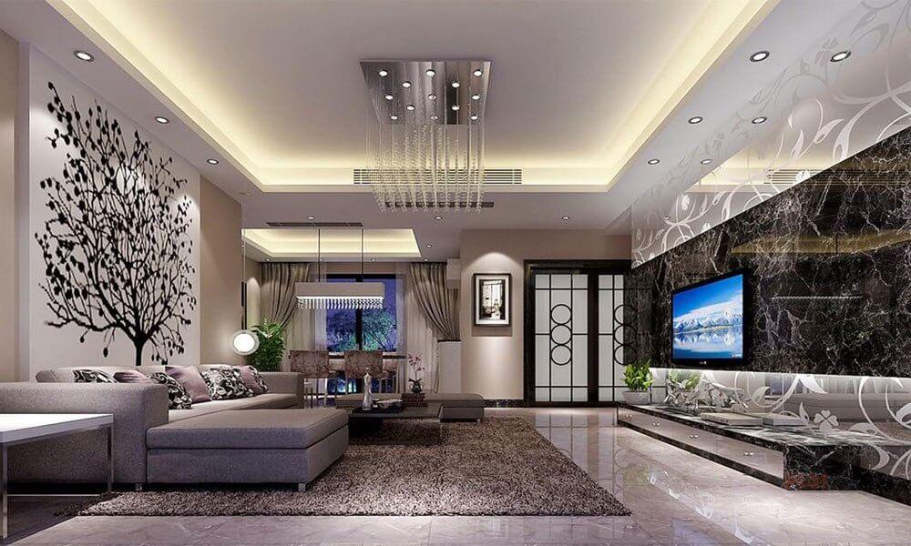 двухуровневые потолки в гостиной