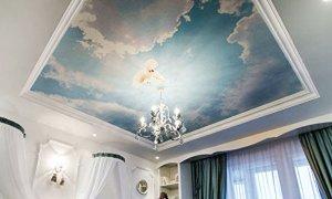 натяжной потолок с облаками