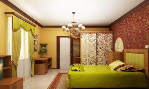 сативый белый потолок в спальне
