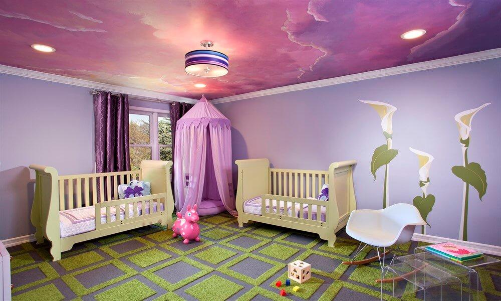 цвет натяжного потолка в детской комнате